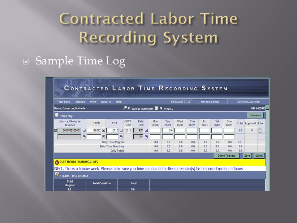 Sample Time Log