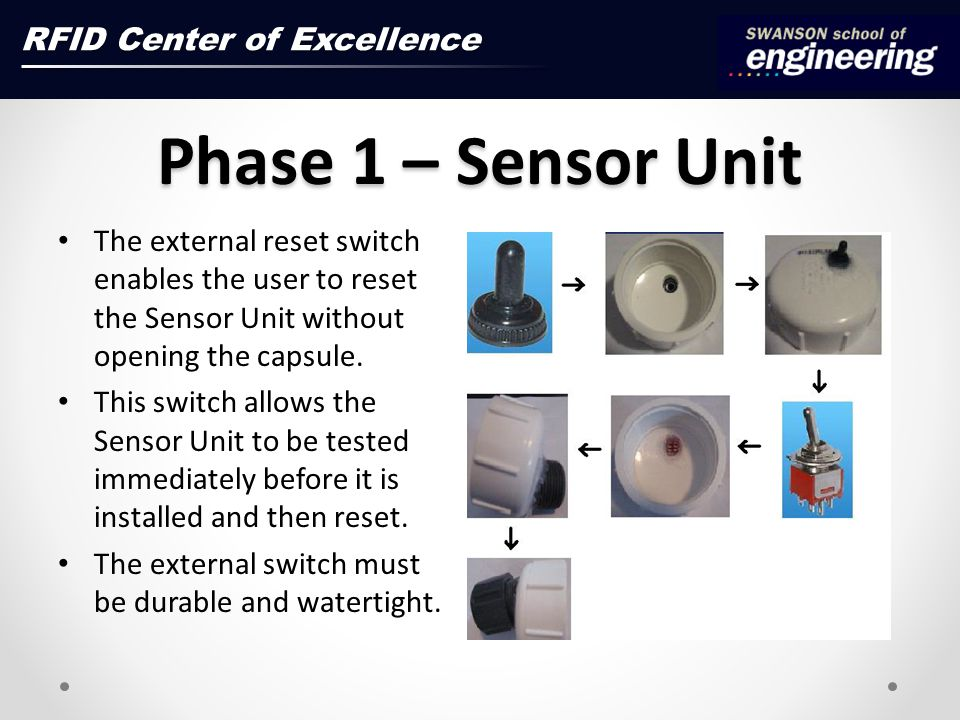 Phase 1 – Sensor Unit RFID Center of Excellence The external reset switch enables the user to reset the Sensor Unit without opening the capsule.
