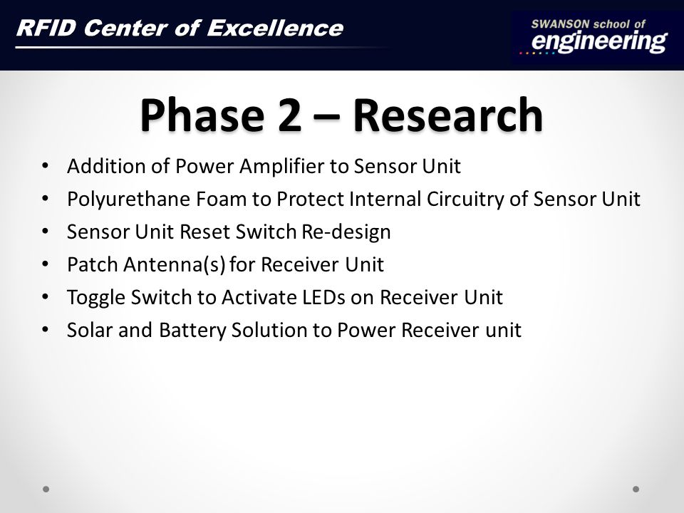 Phase 2 – Research Addition of Power Amplifier to Sensor Unit Polyurethane Foam to Protect Internal Circuitry of Sensor Unit Sensor Unit Reset Switch Re-design Patch Antenna(s) for Receiver Unit Toggle Switch to Activate LEDs on Receiver Unit Solar and Battery Solution to Power Receiver unit RFID Center of Excellence