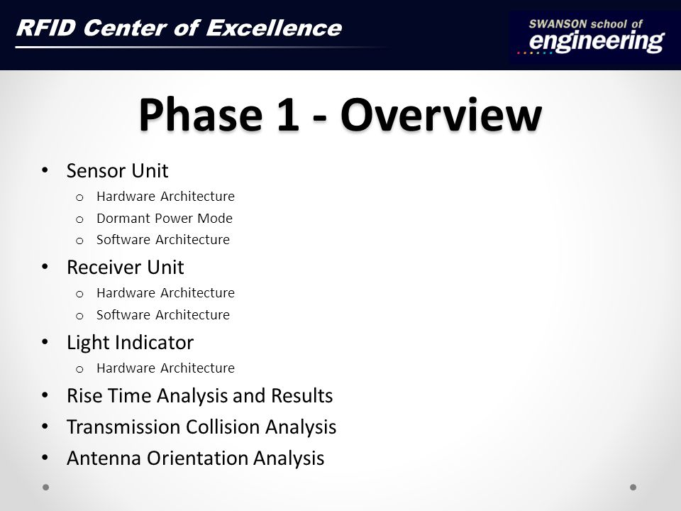 Phase 1 - Overview Sensor Unit o Hardware Architecture o Dormant Power Mode o Software Architecture Receiver Unit o Hardware Architecture o Software Architecture Light Indicator o Hardware Architecture Rise Time Analysis and Results Transmission Collision Analysis Antenna Orientation Analysis RFID Center of Excellence