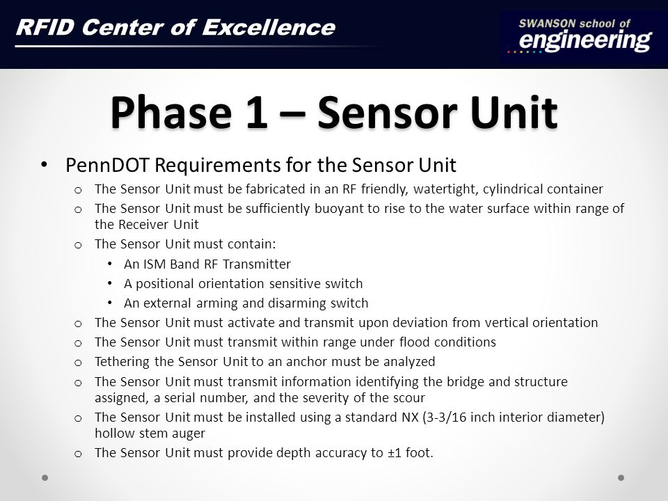 Phase 1 – Sensor Unit RFID Center of Excellence