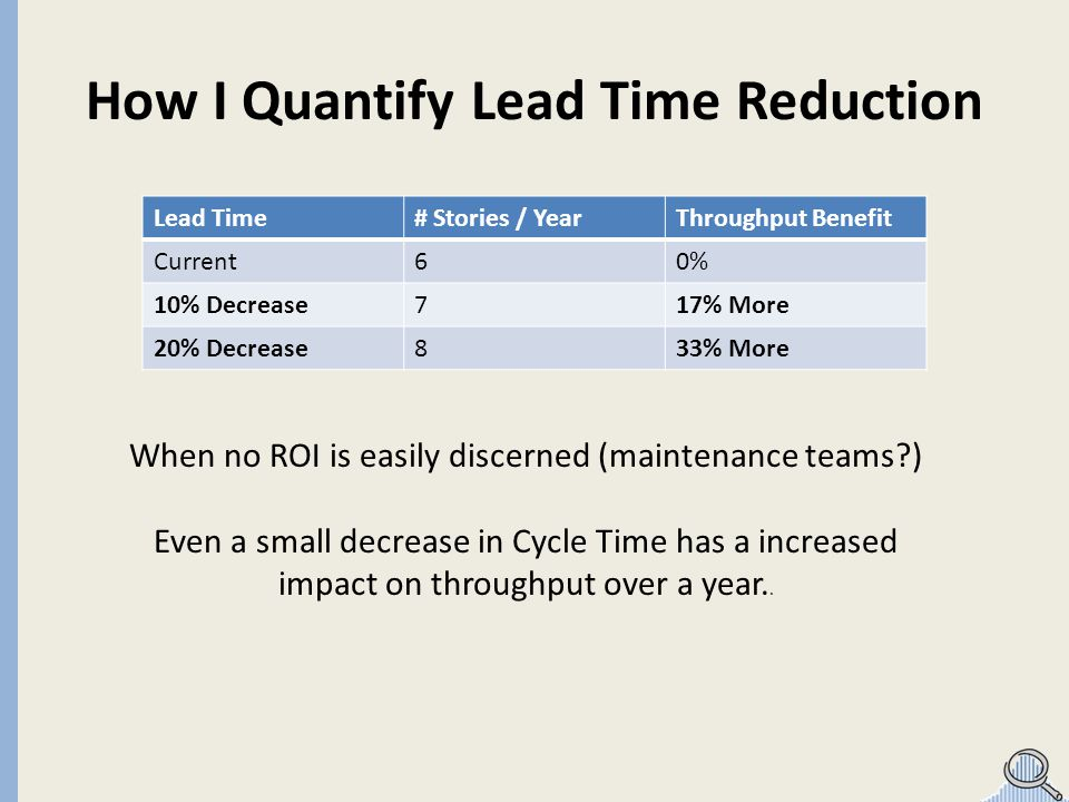 How I Quantify Lead Time Reduction Lead Time# Stories / YearThroughput Benefit Current 60% 10% Decrease 717% More 20% Decrease 833% More When no ROI is easily discerned (maintenance teams?) Even a small decrease in Cycle Time has a increased impact on throughput over a year..