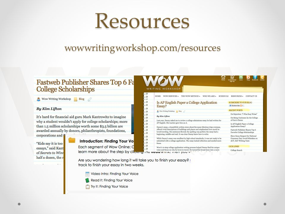 Resources wowwritingworkshop.com/resources