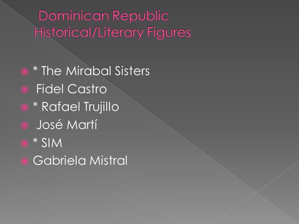 * The Mirabal Sisters Fidel Castro * Rafael Trujillo José Martí * SIM Gabriela Mistral