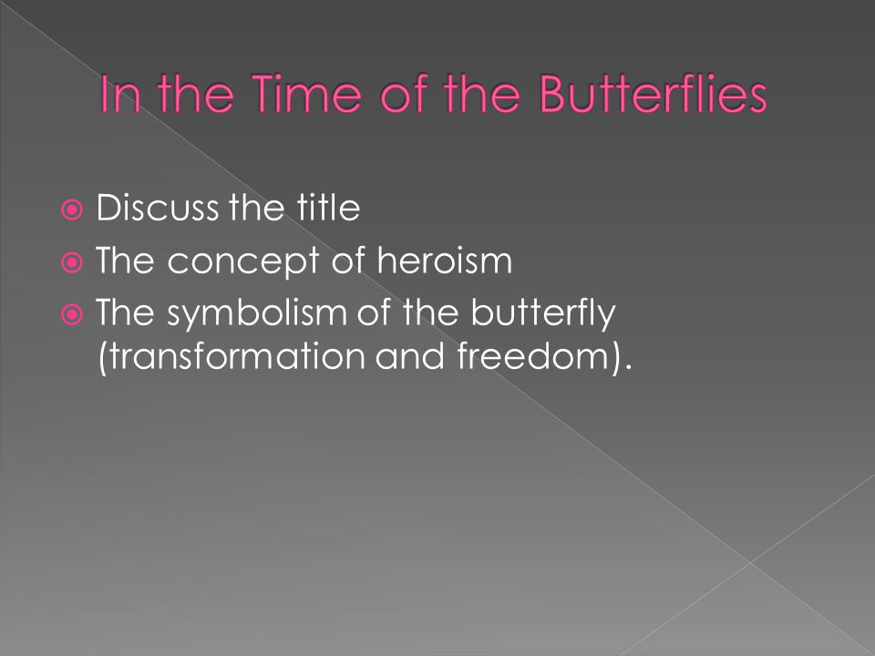 Discuss the title The concept of heroism The symbolism of the butterfly (transformation and freedom).