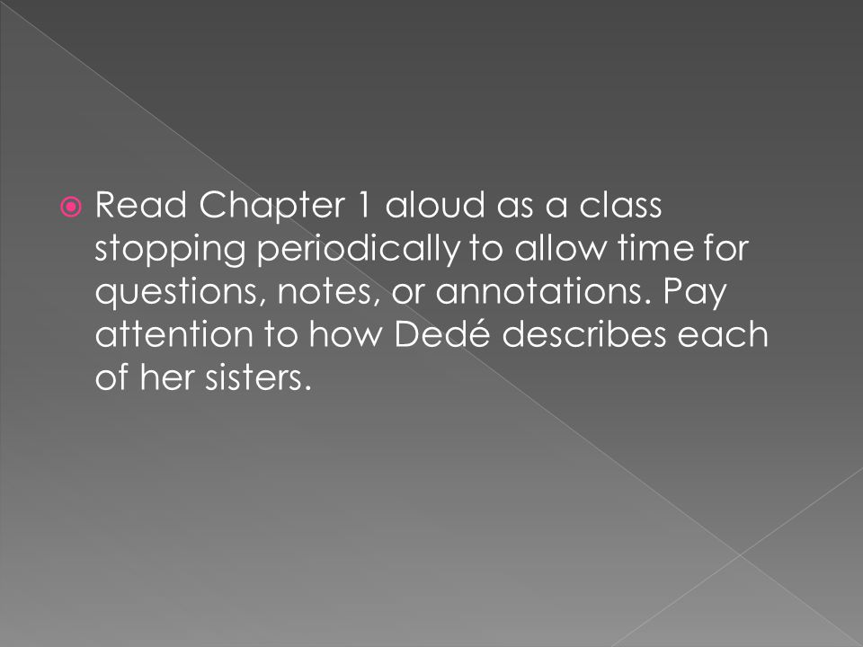 Read Chapter 1 aloud as a class stopping periodically to allow time for questions, notes, or annotations. Pay attention to how Dedé describes each of