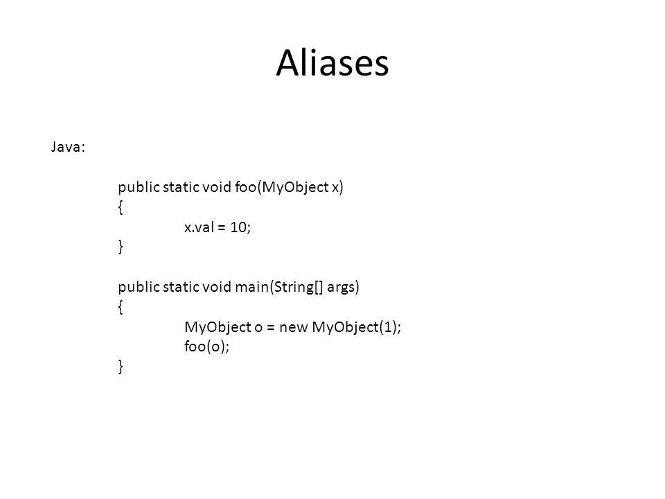 Aliases Java: public static void foo(MyObject x) { x.val = 10; } public static void main(String[] args) { MyObject o = new MyObject(1); foo(o); }