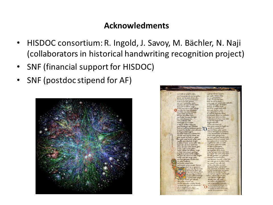 Acknowledments HISDOC consortium: R. Ingold, J. Savoy, M. Bächler, N. Naji (collaborators in historical handwriting recognition project) SNF (financia