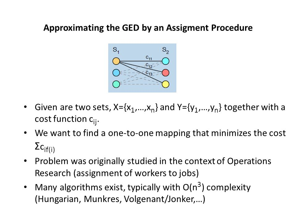 The assignment problem has nothing to do with the ged problem However, ged can be reformulated (simplified), such that it can be approximately solved with an assignment procedure Different reformulations are possible (only nodes, nodes plus edges) The procedures that solve the assignment problem are optimal They are only suboptimal w.r.t.