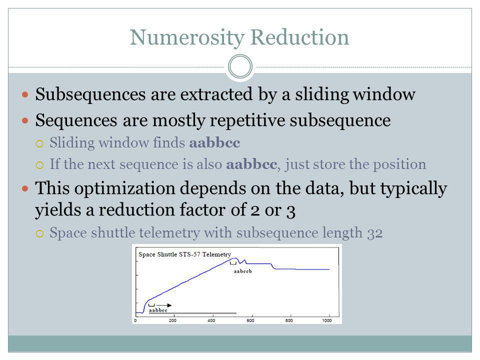 Numerosity Reduction Subsequences are extracted by a sliding window Sequences are mostly repetitive subsequence Sliding window finds aabbcc If the nex