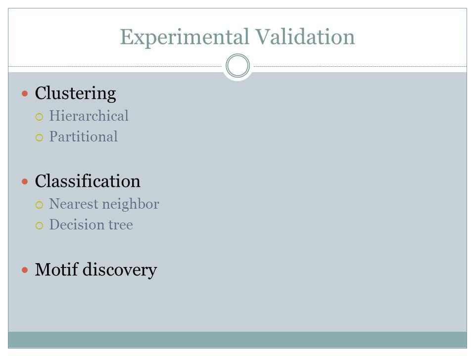 Experimental Validation Clustering Hierarchical Partitional Classification Nearest neighbor Decision tree Motif discovery
