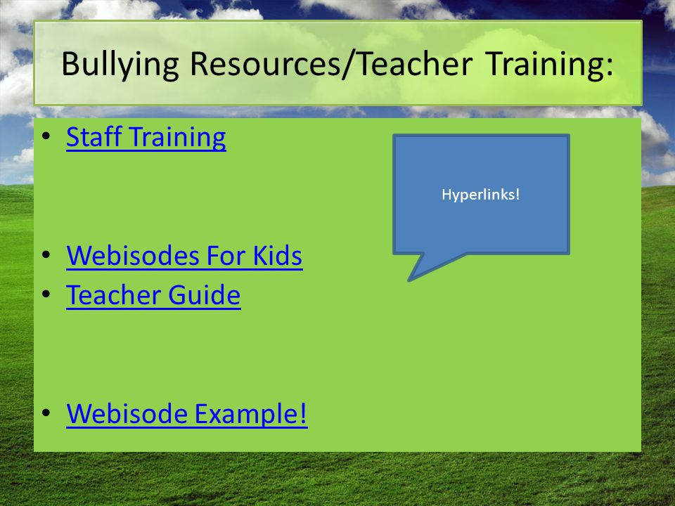 Bullying Resources/Teacher Training: Staff Training Webisodes For Kids Teacher Guide Webisode Example.