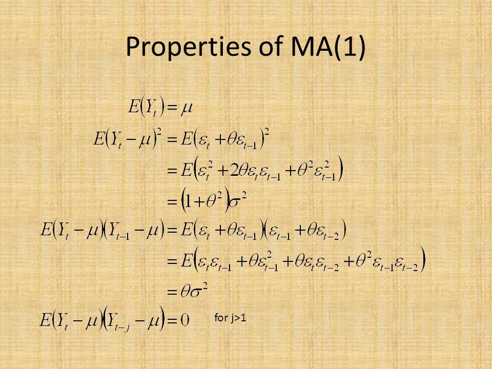 Properties of MA(1) for j>1