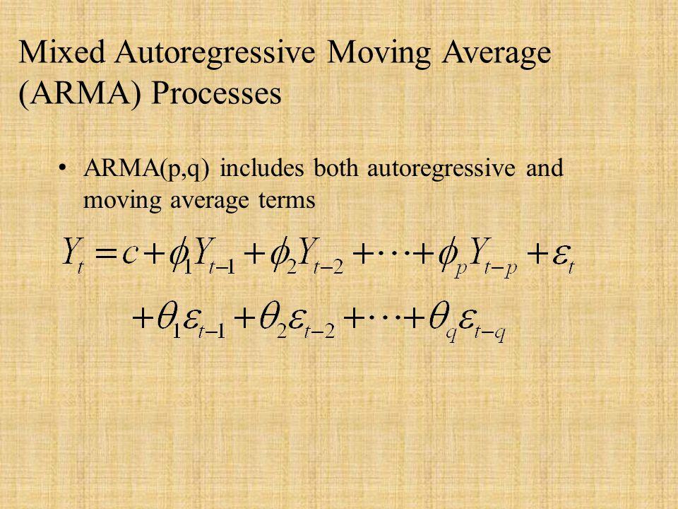 Mixed Autoregressive Moving Average (ARMA) Processes ARMA(p,q) includes both autoregressive and moving average terms