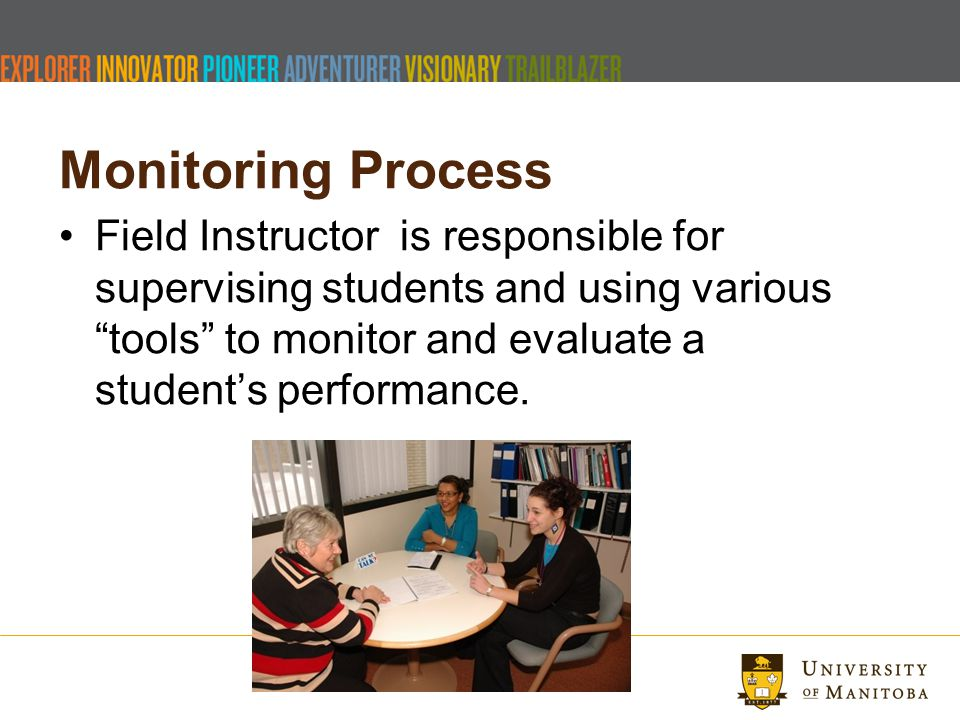 Monitoring Process Field Instructor is responsible for supervising students and using various tools to monitor and evaluate a students performance.