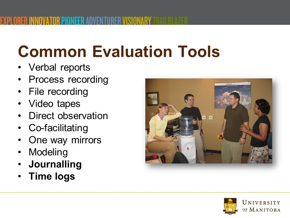 Common Evaluation Tools Verbal reports Process recording File recording Video tapes Direct observation Co-facilitating One way mirrors Modeling Journalling Time logs