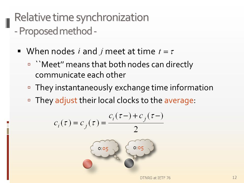 Relative time synchronization - Proposed method - When nodes and meet at time ``Meet means that both nodes can directly communicate each other They in