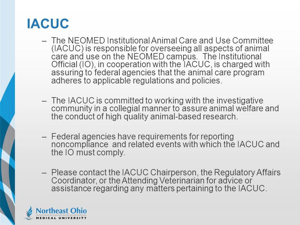 IACUC –The NEOMED Institutional Animal Care and Use Committee (IACUC) is responsible for overseeing all aspects of animal care and use on the NEOMED c