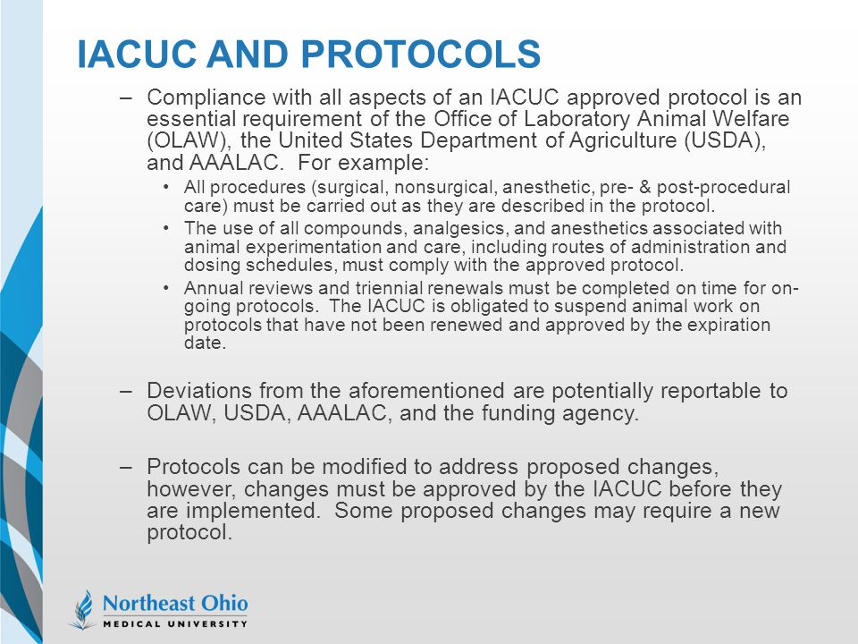 IACUC AND PROTOCOLS –Compliance with all aspects of an IACUC approved protocol is an essential requirement of the Office of Laboratory Animal Welfare