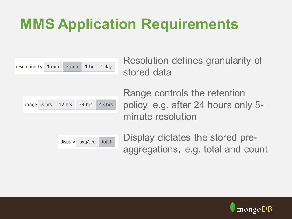MMS Application Requirements Resolution defines granularity of stored data Range controls the retention policy, e.g. after 24 hours only 5- minute res