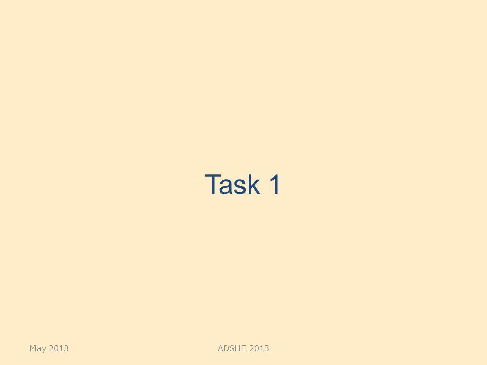 Task 1 May 2013ADSHE 2013