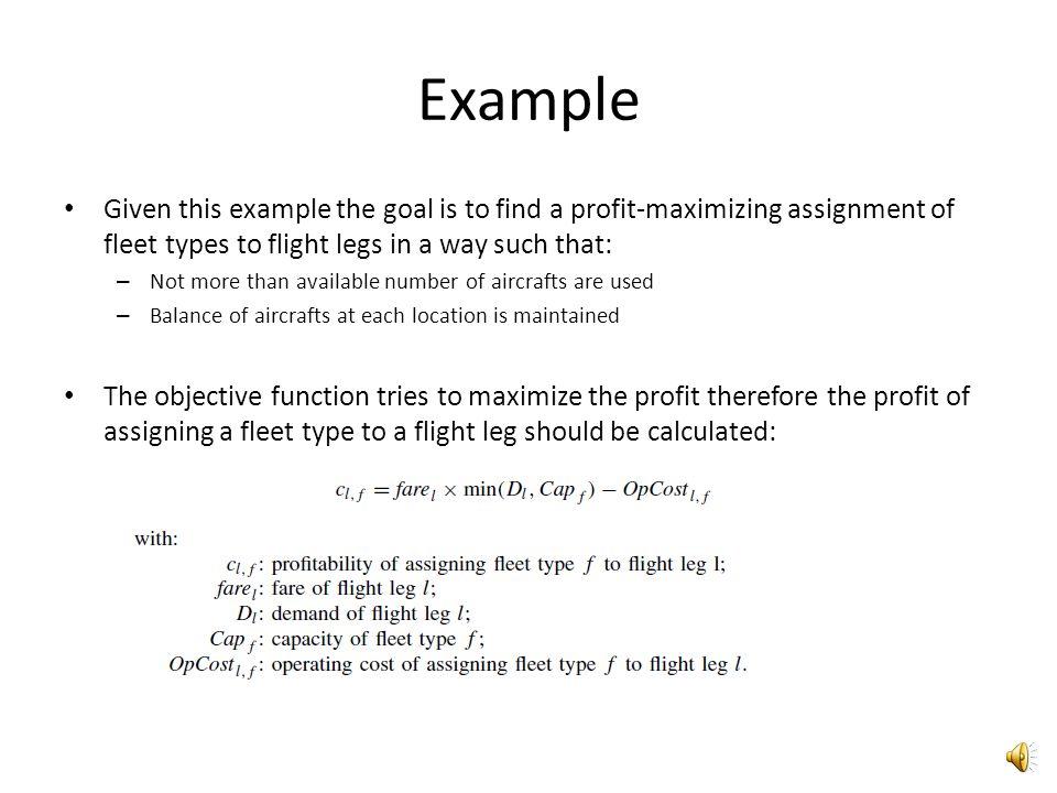 Example Flight network Fleet composition