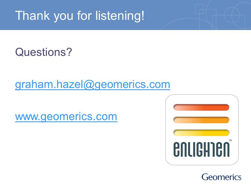 Thank you for listening! Questions? graham.hazel@geomerics.com www.geomerics.com