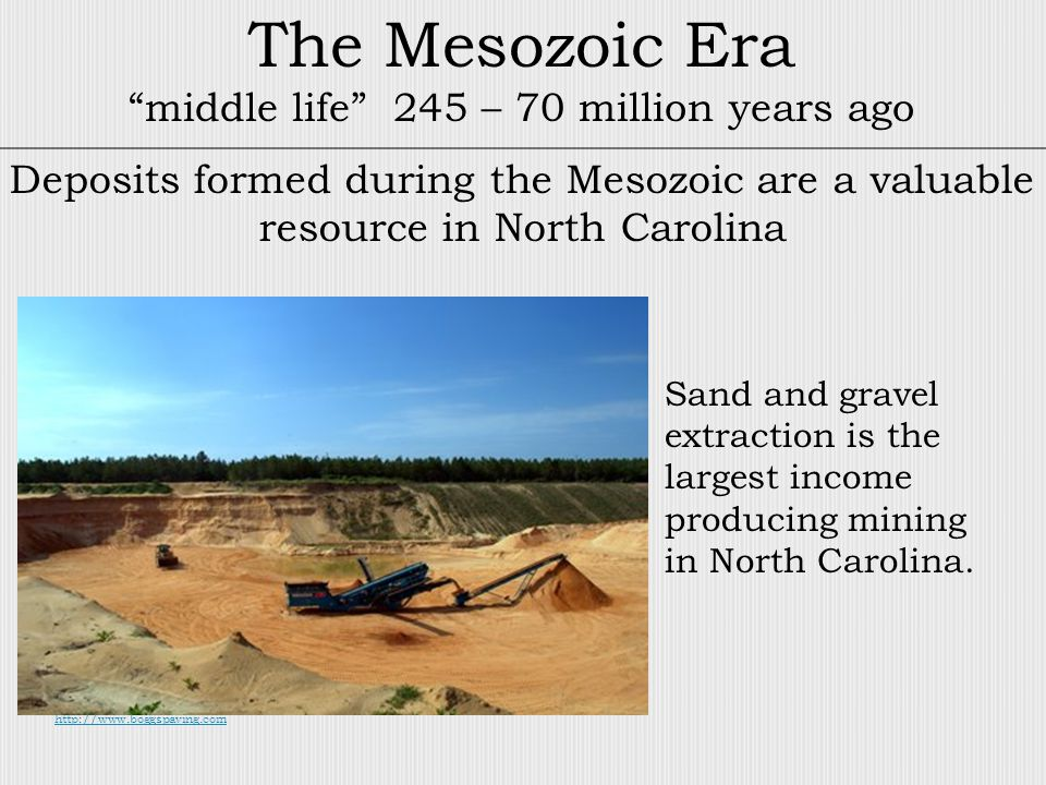The Mesozoic Era middle life 245 – 70 million years ago Deposits formed during the Mesozoic are a valuable resource in North Carolina http://www.boggspaving.com Sand and gravel extraction is the largest income producing mining in North Carolina.