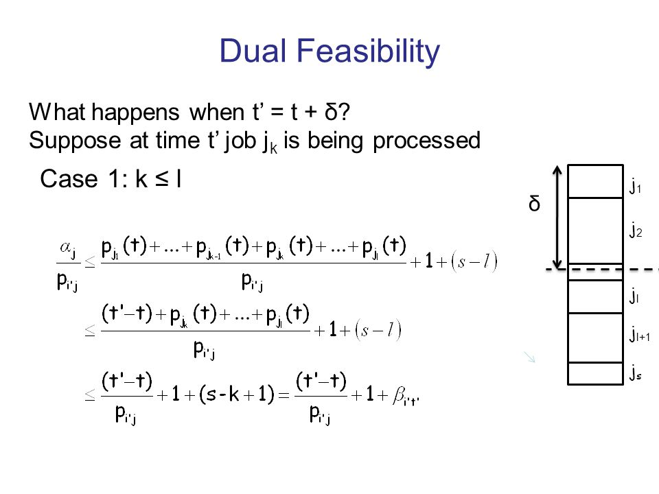 Dual Feasibility j1j1 j2j2 jljl j l+1 jsjs δ What happens when t = t + δ? Suppose at time t job j k is being processed Case 1: k l