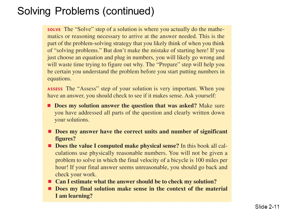 Slide 2-11 Solving Problems (continued)