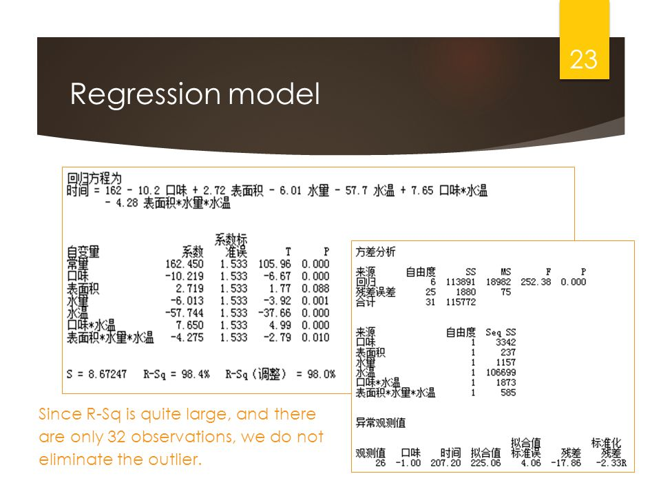 Regression model 23 Since R-Sq is quite large, and there are only 32 observations, we do not eliminate the outlier.