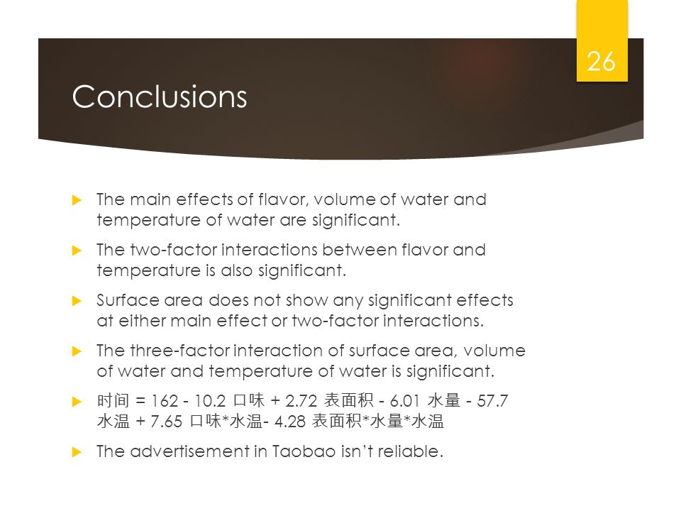 Conclusions The main effects of flavor, volume of water and temperature of water are significant.