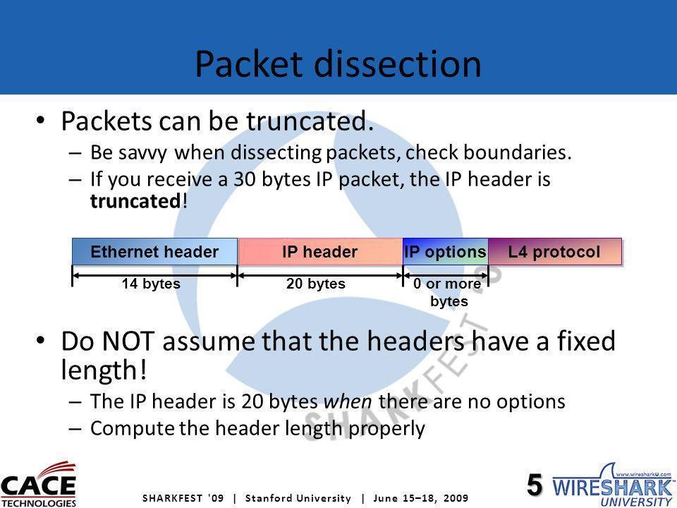 SHARKFEST 09 | Stanford University | June 15–18, 2009 Data link types Do NOT assume that the link type is Ethernet ( DLT_EN10MB ).