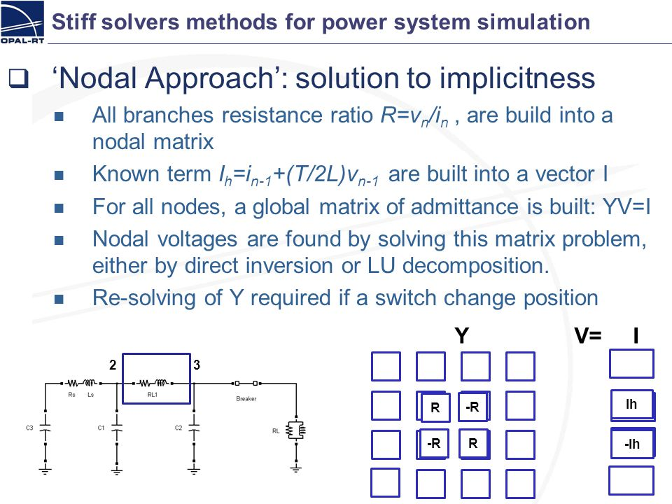 Stiff solvers methods for power system simulation Nodal Approach: solution to implicitness All branches resistance ratio R=v n /i n, are build into a