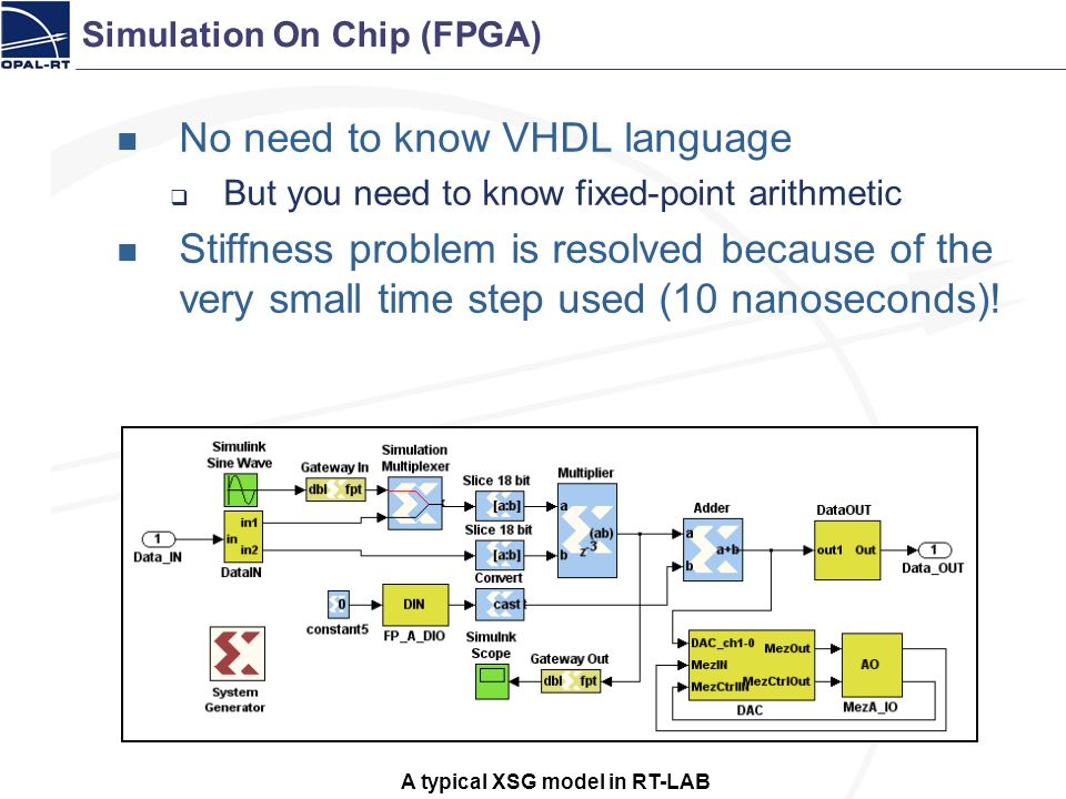 No need to know VHDL language But you need to know fixed-point arithmetic Stiffness problem is resolved because of the very small time step used (10 n