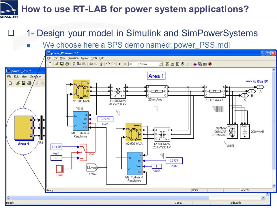 How to use RT-LAB for power system applications? 57 1- Design your model in Simulink and SimPowerSystems We choose here a SPS demo named: power_PSS.md