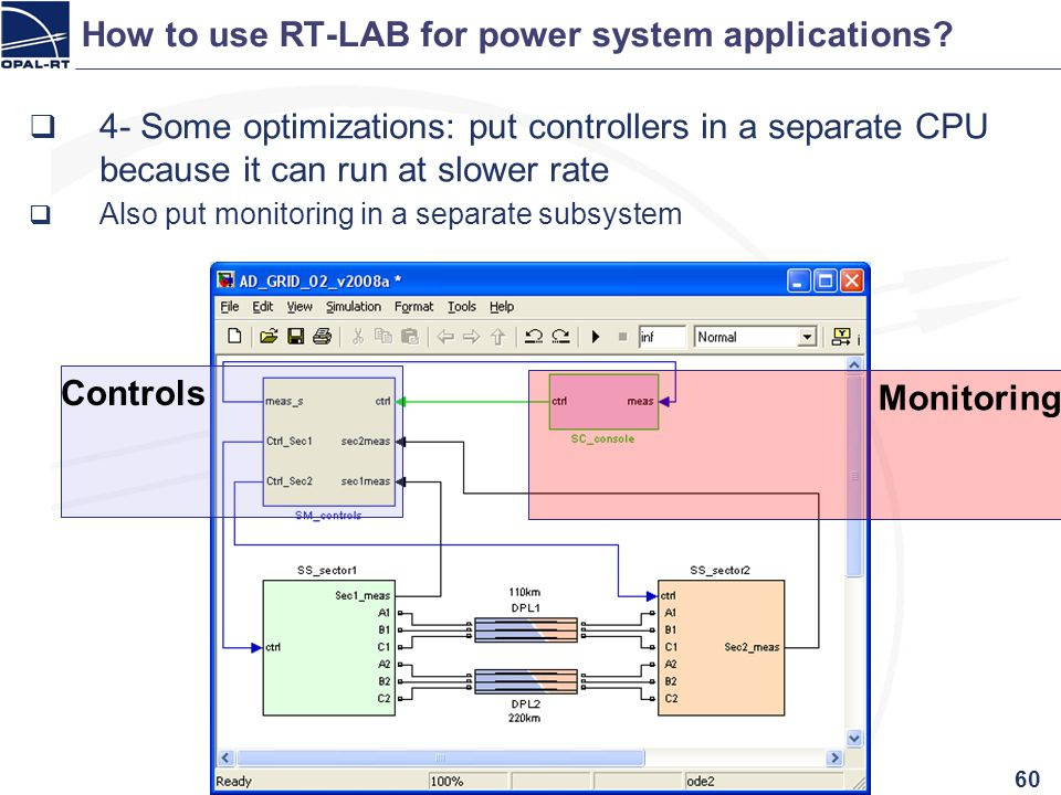 How to use RT-LAB for power system applications? 60 4- Some optimizations: put controllers in a separate CPU because it can run at slower rate Also pu