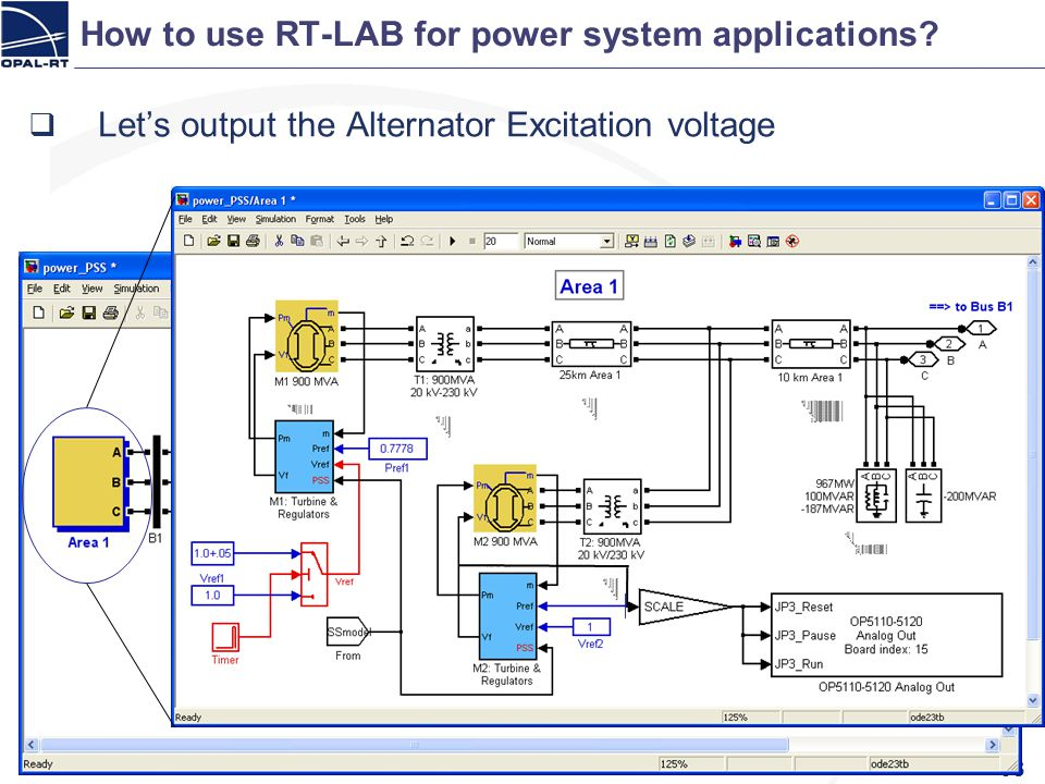 How to use RT-LAB for power system applications? 63 Lets output the Alternator Excitation voltage