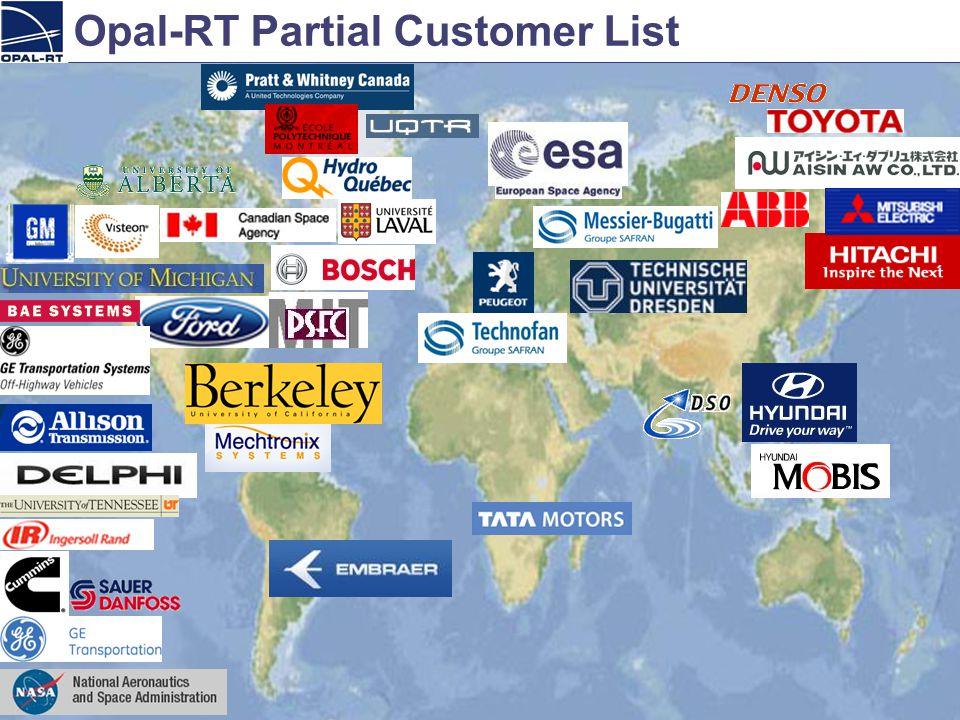 2006.09.28Opal-RT Technologies 74 Opal-RT Partial Customer List
