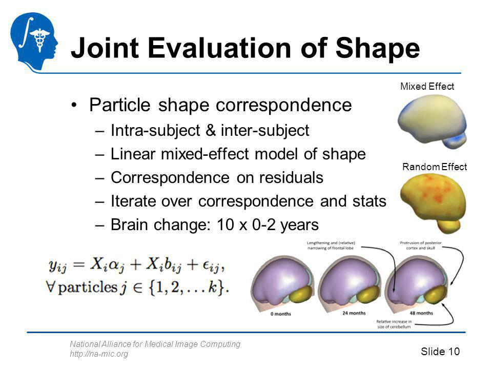 National Alliance for Medical Image Computing http://na-mic.org Slide 10 Joint Evaluation of Shape Particle shape correspondence –Intra-subject & inter-subject –Linear mixed-effect model of shape –Correspondence on residuals –Iterate over correspondence and stats –Brain change: 10 x 0-2 years Mixed Effect Random Effect