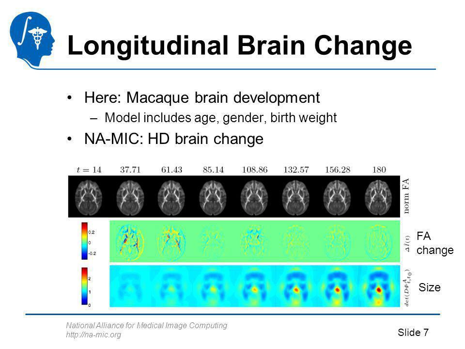 National Alliance for Medical Image Computing http://na-mic.org Slide 7 Longitudinal Brain Change Here: Macaque brain development –Model includes age, gender, birth weight NA-MIC: HD brain change Size FA change