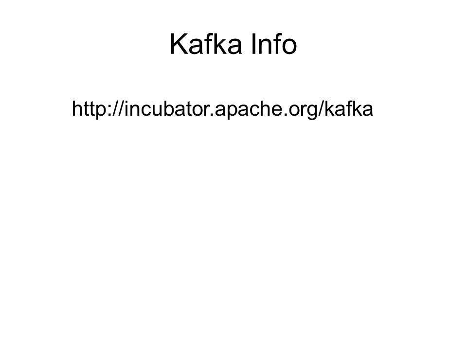 Kafka Info http://incubator.apache.org/kafka