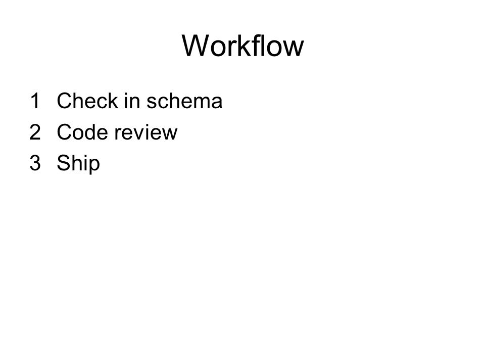 Workflow Check in schema Code review Ship