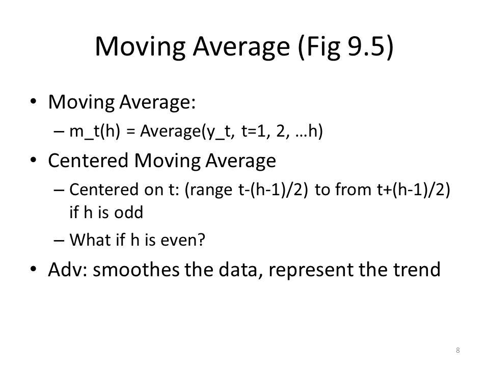 Moving Average (Fig 9.5) Moving Average: – m_t(h) = Average(y_t, t=1, 2, …h) Centered Moving Average – Centered on t: (range t-(h-1)/2) to from t+(h-1)/2) if h is odd – What if h is even.