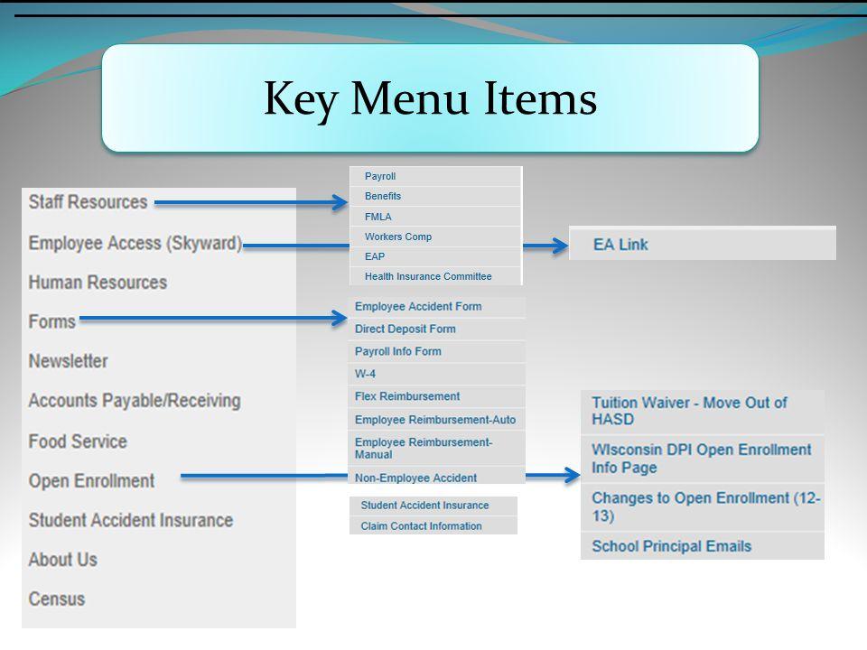 Key Menu Items