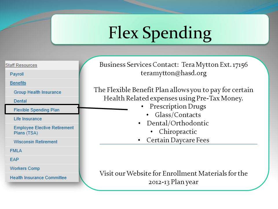 Flex Spending Business Services Contact: Tera Mytton Ext.