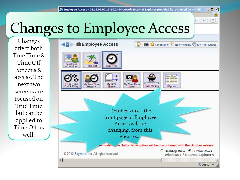 Changes to Employee Access October 2012….the front page of Employee Access will be changing, from this view to….