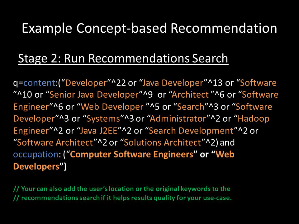 Example Concept-based Recommendation q=content:(Developer^22 or Java Developer^13 or Software ^10 or Senior Java Developer^9 or Architect ^6 or Softwa