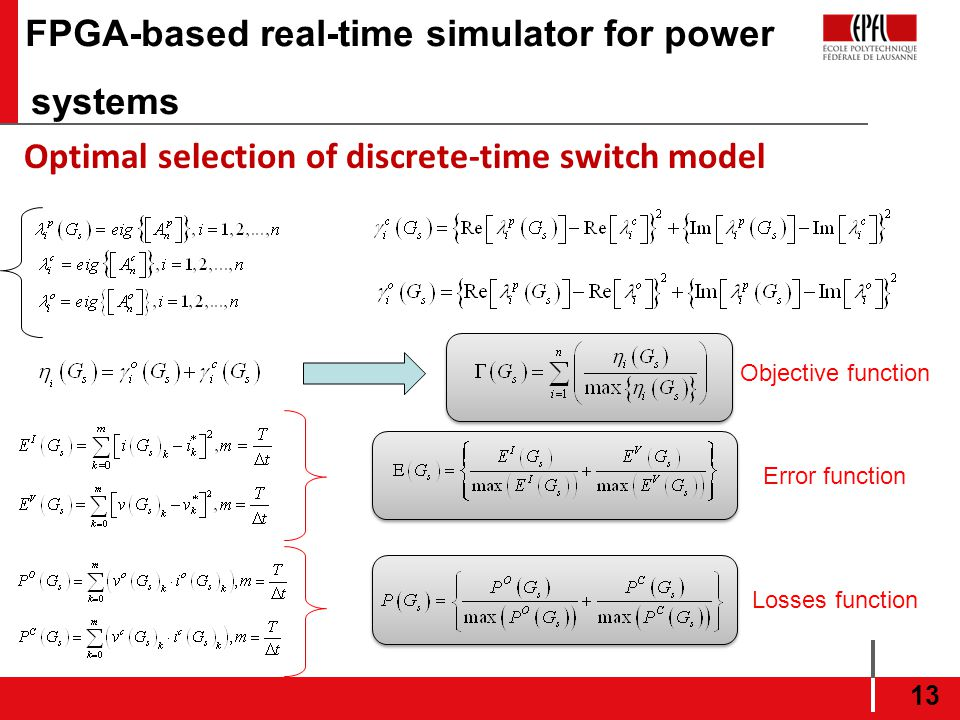 FPGA-based real-time simulator for power systems 13 Optimal selection of discrete-time switch model Objective function Error function Losses function