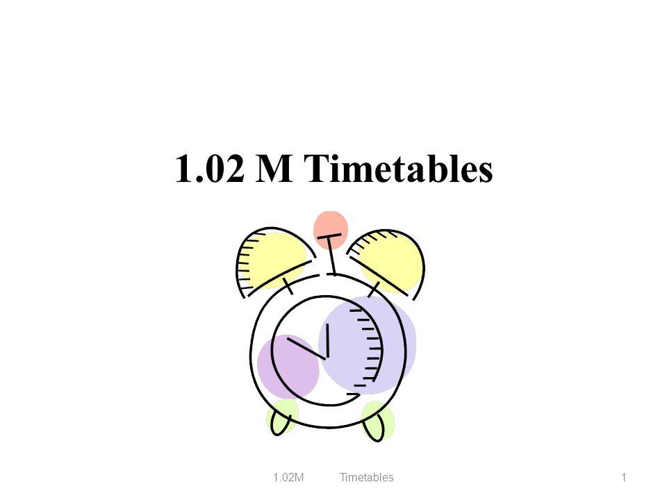 1.02 M Timetables 1